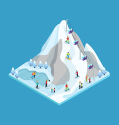isometric winter leisure activity concept vector image
