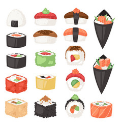 japanese food sushi sashimi roll or nigiri vector image