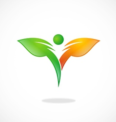 Leaf bio eco abstract people logo vector