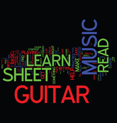 learn to read guitar sheet music text background vector image