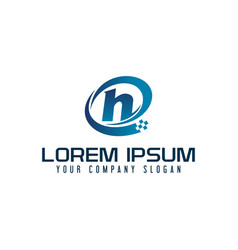Letter h logo tech design concept template vector