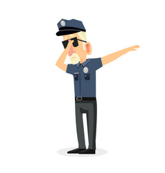Man police office doing dabbing movement vector