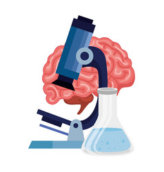 Microscope with brain human isolated icon vector