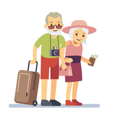 Old people travelers on holiday smiling vector