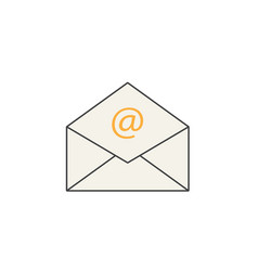 open mail line icon representing email envelope vector image