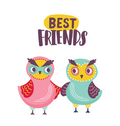 pair of adorable owls and best friends inscription vector image