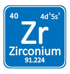 periodic table element zirconium icon vector image