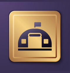 Purple military barracks station icon isolated vector