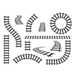 Railroad tracks straight wavy and curved rails vector