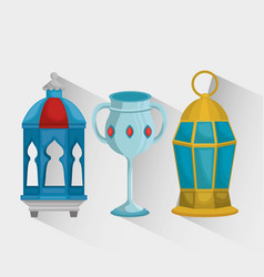 Ramadan kareem card with set icons vector