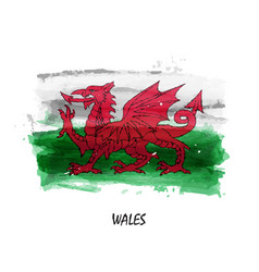 Realistic watercolor painting flag of wales vector