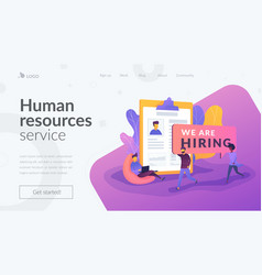 Recruitment agency landing page template vector