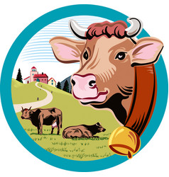 Round frame with landscape and head of cow vector
