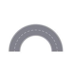 Round turn of asphalt road isolated segment vector