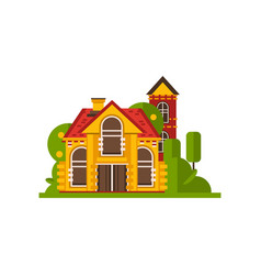 Rural cottage countryside building vector