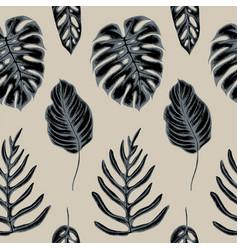 Seamless pattern monstera leaves hand vector