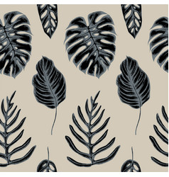 Seamless pattern of monstera leaves hand vector