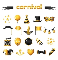 Set carnival gold icons and objects vector