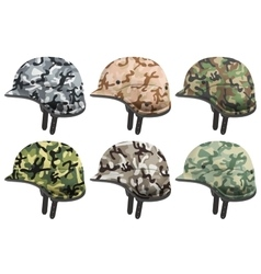 Set of Military modern camouflage helmets Side vector image