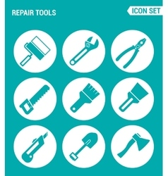 Set of round icons white Repair tools cushion vector