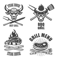 set steak house emblem templates bbq grill menu vector image