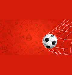Soccer ball on red background football banner vector