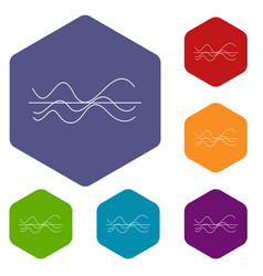 Sound waves icons set vector