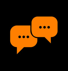 speech bubbles sign orange icon on black vector image