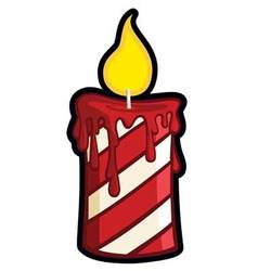 striped holiday christmas candle graphic vector image