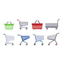 Supermarket carts or trolleys and baskets shopping vector