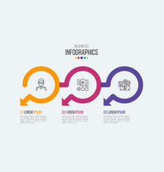Three steps timeline infographic template vector