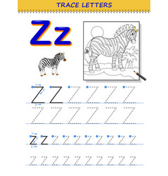 Tracing letter z for study alphabet printable vector