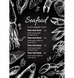 vintage seafood restaurant menu vector image