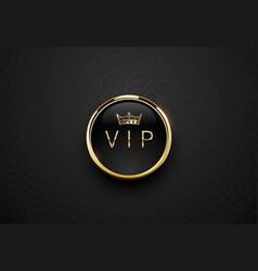 vip black label with round golden ring frame and vector image