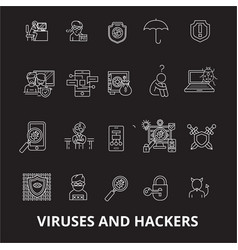 viruses and hackers editable line icons set vector image