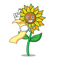 with menu sunflower mascot cartoon style vector image