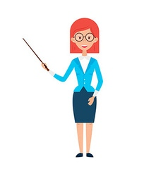 Woman Teacher with Glasses and Pointer vector