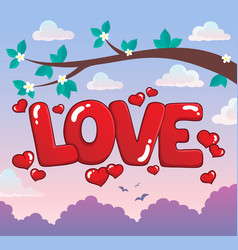 Word love theme image 3 vector