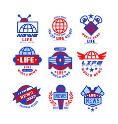 world life news logo set social mass media vector image