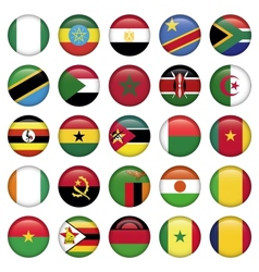 African Flags Round Icons vector image vector image