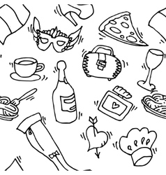 Italy doodle set pattern vector image