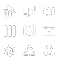 Various energy icons set outline style vector image vector image