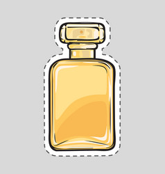yellow perfume flacon female odour cut it out vector image