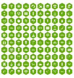 100 sun icons hexagon green vector