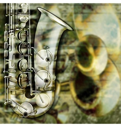 abstract grunge background with saxophone and vector image vector image