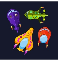 Four Colorful Spaceships vector image