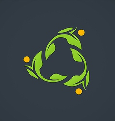 leaf ecology circle abstract logo vector image vector image