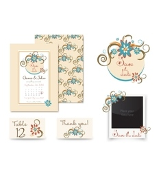 Vintage wedding invitation set design Template vector image vector image
