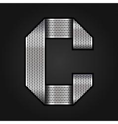 Letter metal chrome ribbon - C vector image vector image