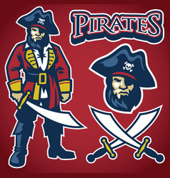 pirate mascot set vector image